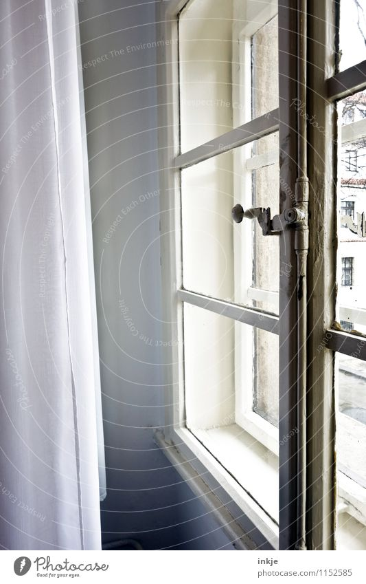 Old Window Bright Flat (apartment) Room Living or residing Closed Simple Historic Window pane Nostalgia Curtain Ancient View from a window Close Window board
