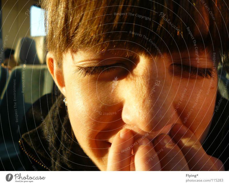 Beautiful Joy Eyes Laughter Contentment Railroad Closed Freckles Eyelash Bangs Mole Shadow play