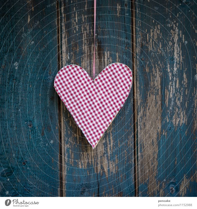 heart or check Sign Design Love Heart Mother's Day Valentine's Day Chalet vacation Checkered Decoration Retro Wooden facade Blue Red Weathered Wood grain