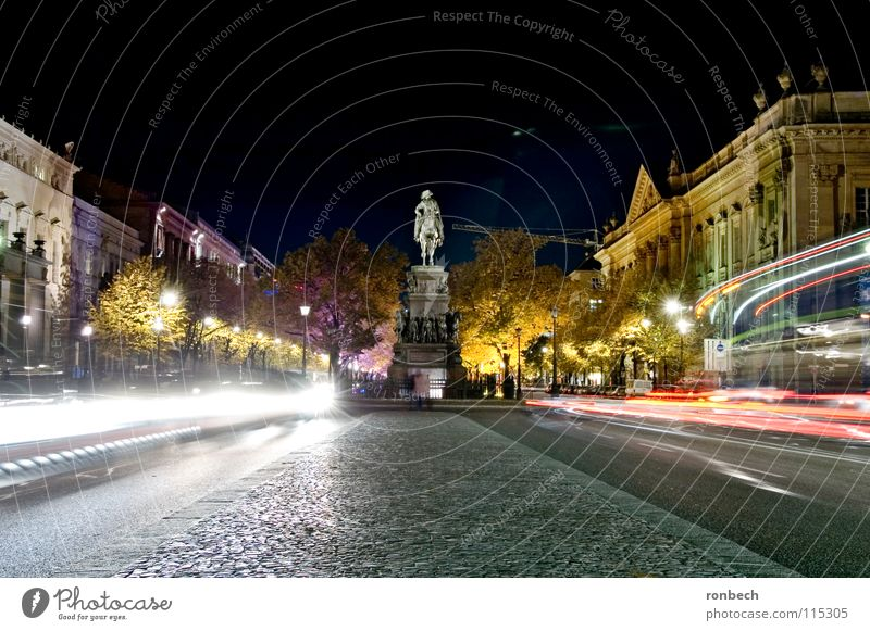 Lime trees in the light Unter den Linden Night Light Long exposure Vail Monument Traffic infrastructure Berlin Light (Natural Phenomenon) Floodlight Street