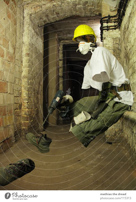 Man Working man Yellow Dark Relaxation Work and employment Death Wall (barrier) Sit Break T-shirt Construction site Protection Mask Pants Profession