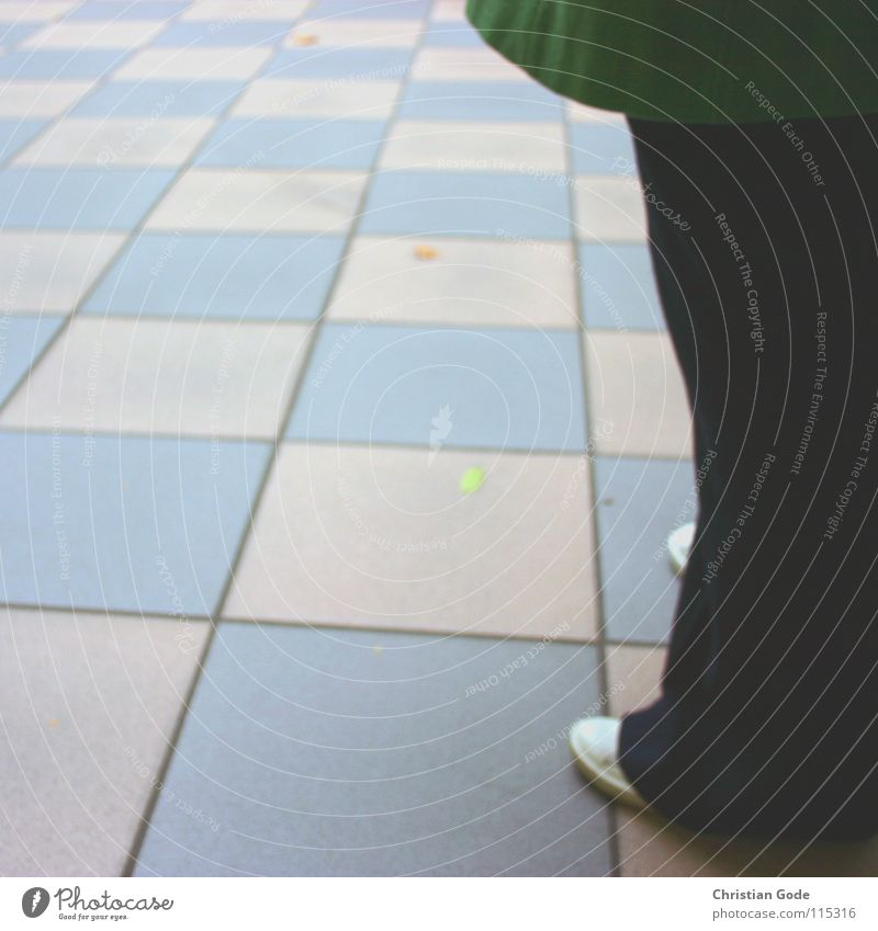 Human being White Green Blue Black Footwear Legs Germany Floor covering Pants Tile Coat Checkered