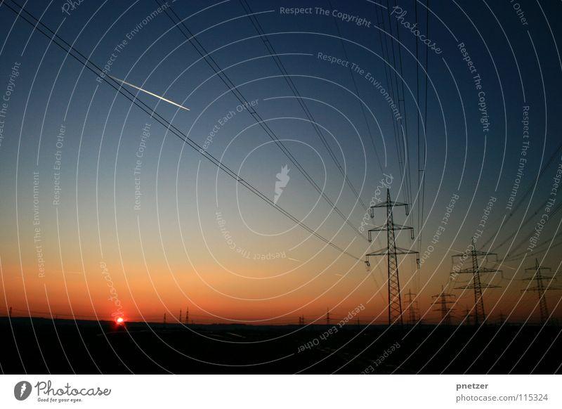On the way home ... Sunset Red Progress Black Electricity Joy Sky Blue Orange Landscape Electricity pylon Transmission lines Energy industry