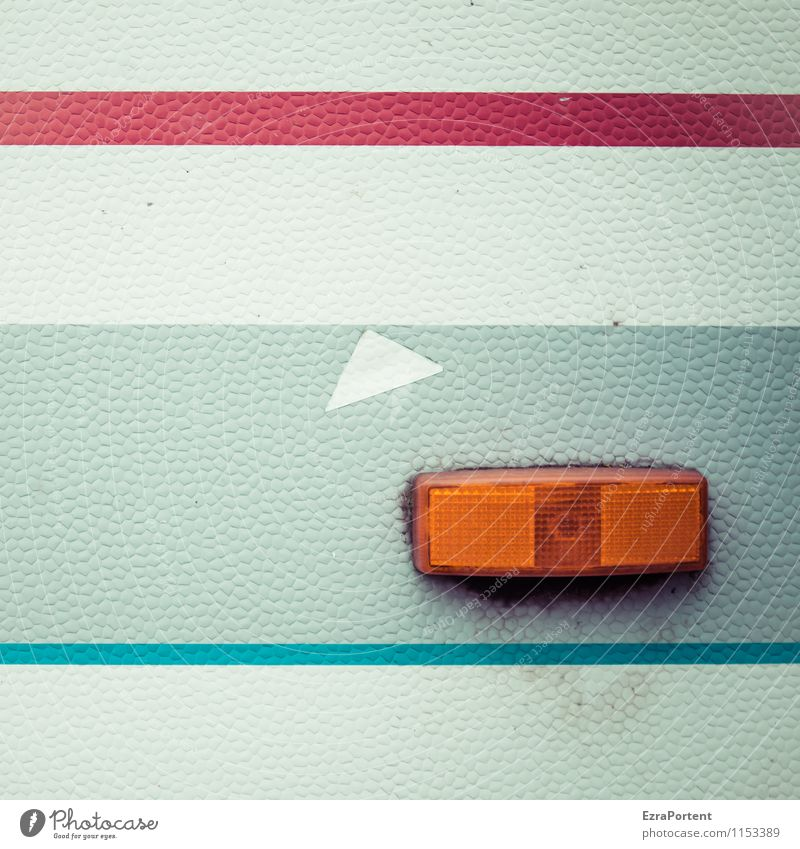 Indicator right Vehicle Mobile home Caravan Plastic Sign Line Stripe Esthetic Dirty Hideous Bright Retro Blue Gray Orange Red White Design Colour