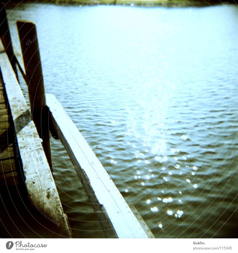 Water Sun Ocean Summer Relaxation Wood Lake Watercraft Waves Coast Glittering Leisure and hobbies Footbridge Jetty Medium format Holga