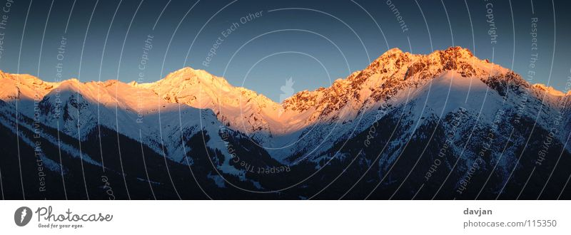 ALPENGLÜHEN Cold Physics White Dusk Exterior shot Sunset Winter Massive Calm Might Peak Austria Evening Panorama (View) Mountain Tall Warmth mountain glow Gold