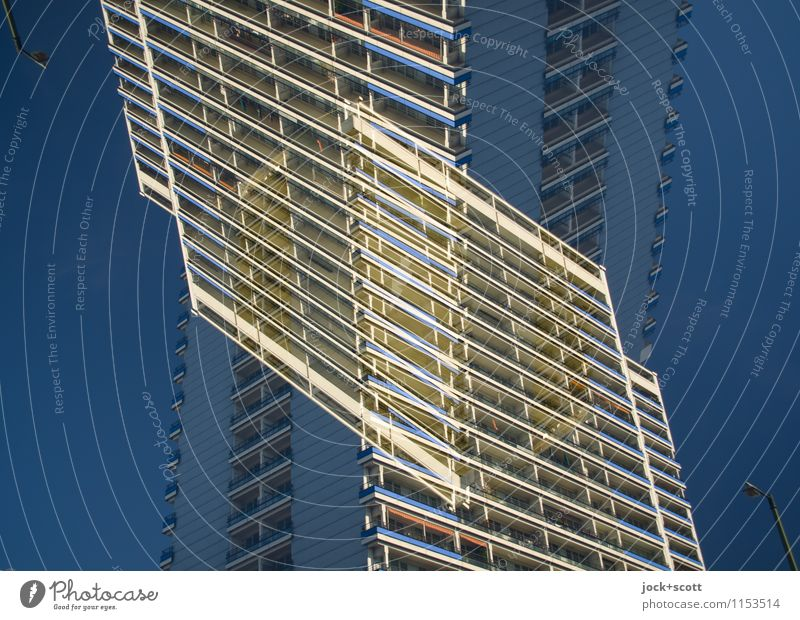 Panel building Cross section Cloudless sky Prefab construction Tower block Facade Sharp-edged Fantastic Large Agreed Complex Modern Surrealism Irritation