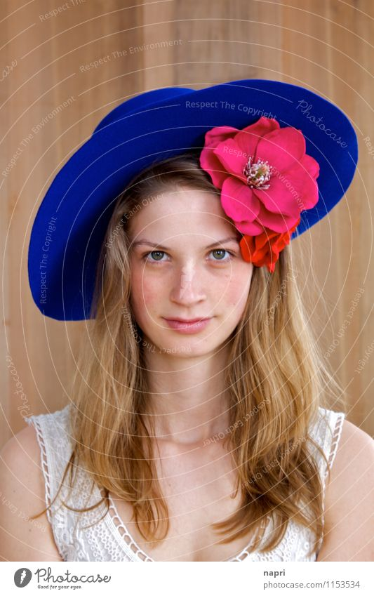 Frida Style Feminine Young woman Youth (Young adults) 1 Human being 18 - 30 years Adults Accessory flowers Hat Blonde Long-haired Authentic Beautiful Natural
