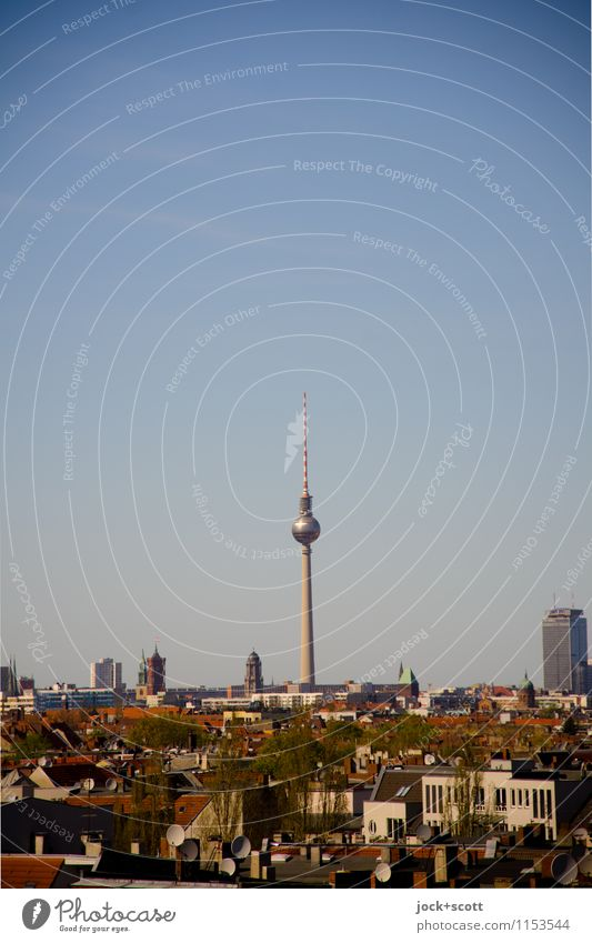 Tele Tower Time Sightseeing City trip GDR Air Cloudless sky Spring Beautiful weather Neukölln Capital city Downtown House (Residential Structure)