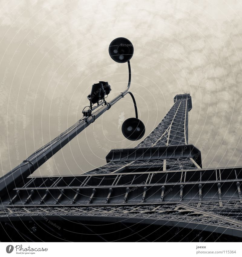 Tragic street lamp Foreign countries Manmade structures Eiffel Tower Unicoloured Iron France Gray Lamp Lantern Paris Street lighting Tourism Surveillance camera