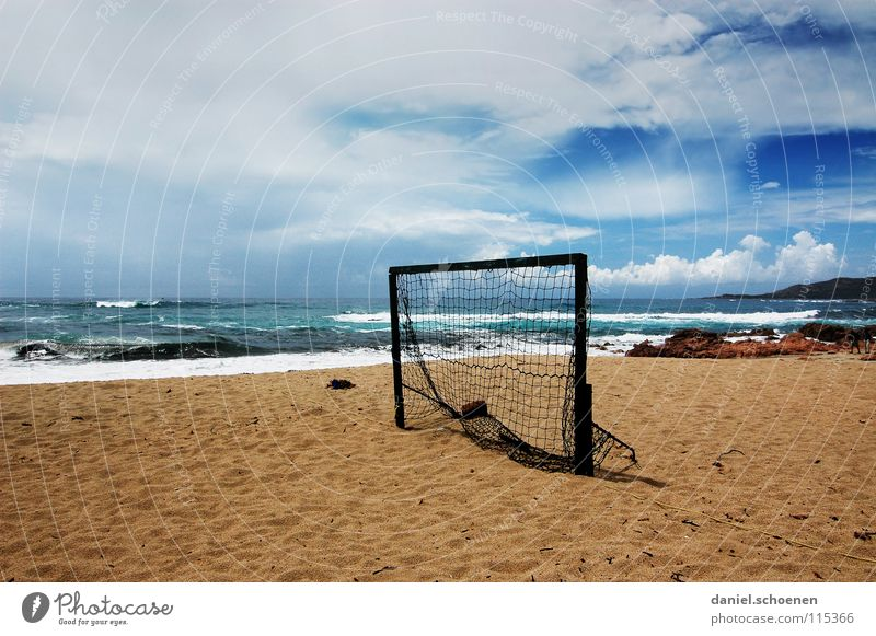 winter break Soccer Goal Beach Ocean Empty Break Winter break Horizon Vacation & Travel Clouds Background picture Loneliness Corsica France Waves White Coast