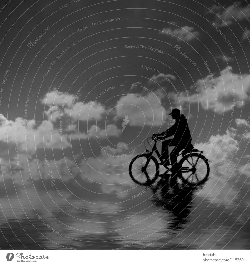 water wheel Bicycle Ocean Clouds Reflection Horizon Infinity Far-off places Loneliness Black & white photo Sky Water