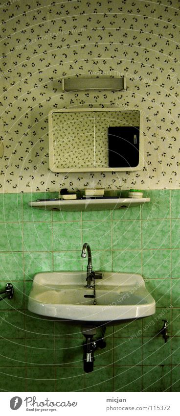 What to clean yourself up and...? Sink Mirror Bathroom Rack Toothbrush Lamp Green Pattern Tap Dry Dirty Clean Cleaning Wallpaper Ancient Body care tools Middle