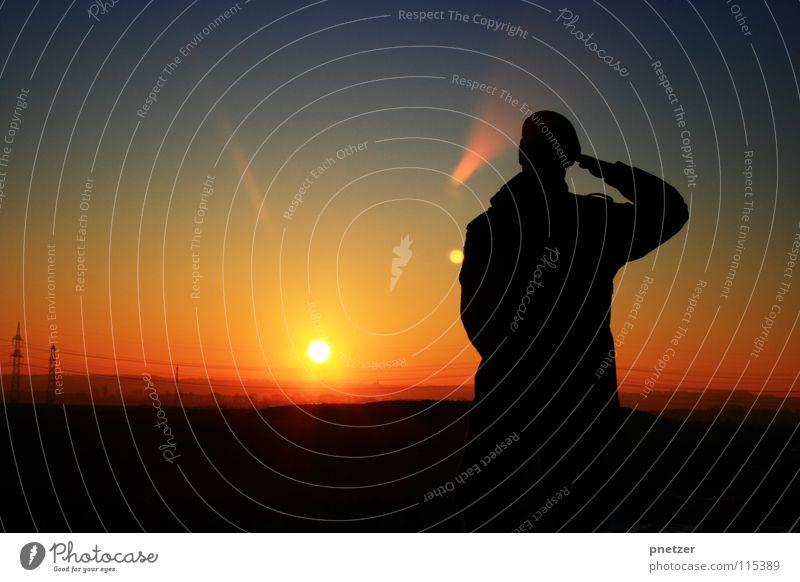 Sky Man Nature Blue Sun Vacation & Travel Joy Winter Black Loneliness Landscape Freedom Orange Time Sunset Progress