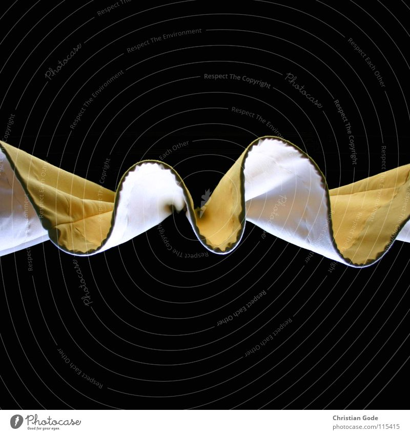 curtain Drape Window Worm's-eye view Cloth Yellow White Folds Bring in Waves Black Dark Light Shaft of light Detail Living or residing Things gadrobe