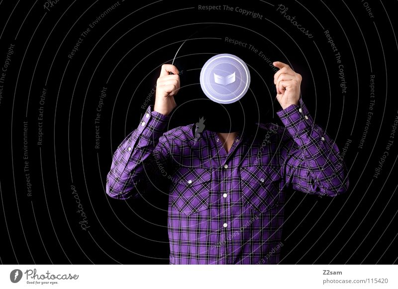 disk head Record Music Sound storage medium Old Portrait photograph Man Human being Shirt Pattern Violet Hand Stand Evil Studio shot Listening Style Freak Crazy