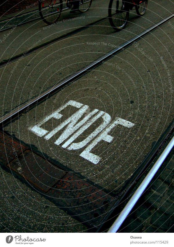 White Black Street Dark Lanes & trails Gray Sadness Bicycle Glittering Beginning Signage Letters (alphabet) Asphalt Information End Sign