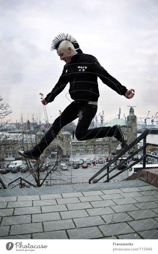 Man Youth (Young adults) Sky Joy Winter Clouds Cold Jump Freedom Happy Air Power Flying Free Hamburg Hope