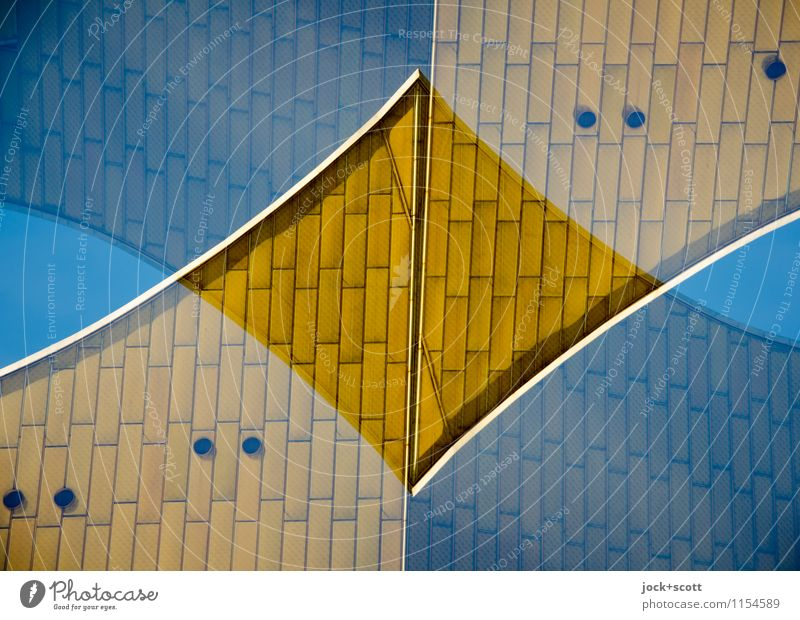 Double for gold Architecture Cloudless sky Berlin zoo Facade Tourist Attraction Berlin Philharmonic Rectangle Exceptional Modern Original Retro Crazy Gold