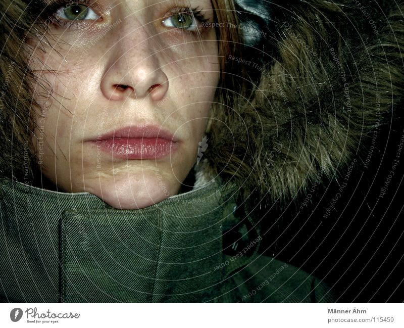 Woman Green Winter Face Cold Warmth Meditative Clothing Closed Frost Seasons Lips Pelt Jacket Freeze Damp