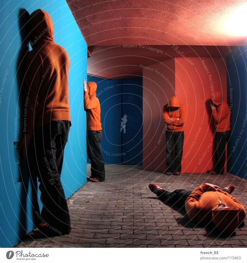Human being Man Blue Hand Colour Wall (building) Gray Wall (barrier) Lake Orange Door Footwear Concrete Masculine Lie Growth