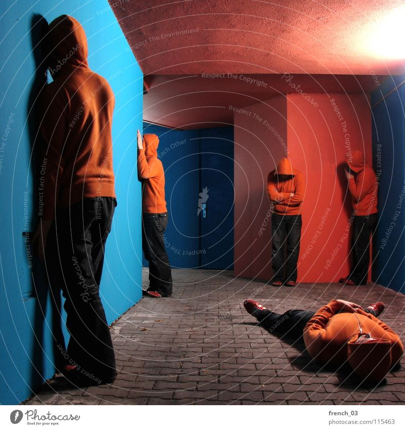 out of control reproduction Human being Man Blue Hand Colour Wall (building) Gray Wall (barrier) Lake Orange Door Footwear Concrete Masculine Lie Growth