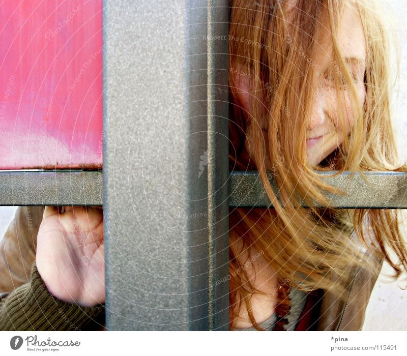 hide and seek 2 Woman Undiscovered Search Find Happiness Blown away Red-haired Sincere Pink Square Geometry Division Hide Mysterious look out Laughter Happy Joy