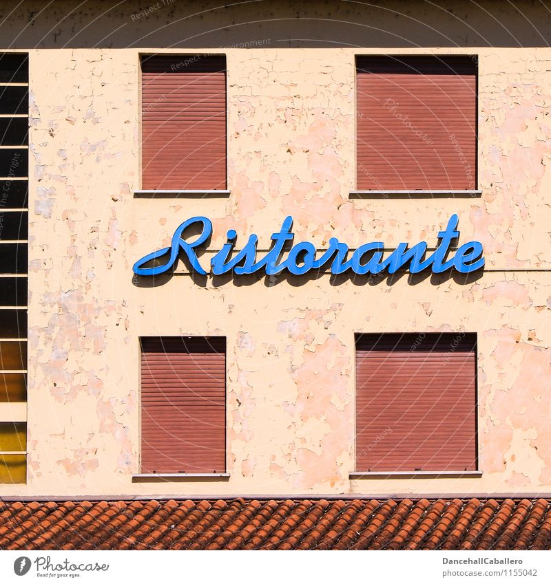 Old Blue House (Residential Structure) Window Wall (building) Eating Wall (barrier) Design To enjoy Retro Italy Roof Delicious Gastronomy Restaurant Meal
