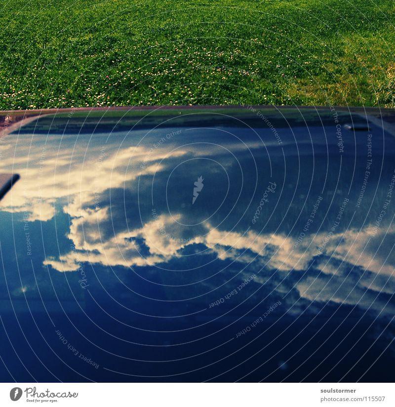 Beautiful Sky Green Blue Joy Clouds Meadow Grass Car Glass Lawn Obscure Window pane Surrealism Jubilee