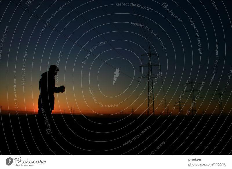 Man Sky Sun Blue Joy Calm Black Loneliness Dark Landscape Orange Energy industry Electricity Electricity pylon Progress