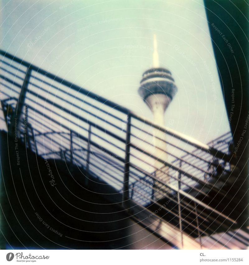 d Sky Beautiful weather Duesseldorf Town Stairs Banister Tourist Attraction Landmark Rheinturm Colour photo Exterior shot Polaroid Deserted Day