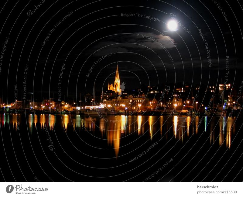 Water Sky Black Clouds Dark Church Night sky Skyline Moon North Surface of water Moonlight Flensburg Port City Water reflection Church spire
