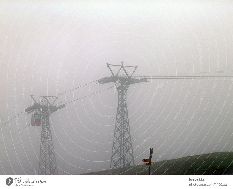 Winter Mountain Fog Rope Driving Switzerland Steel Elevator Iron Gondola Cable car Wire cable