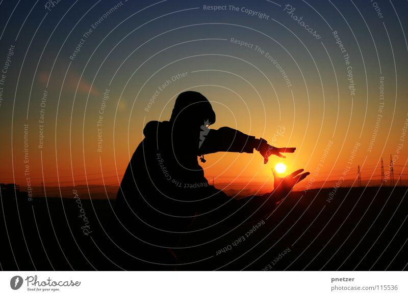 Sky Man Nature Blue Sun Vacation & Travel Joy Winter Black Loneliness Landscape Freedom Orange Contentment Progress