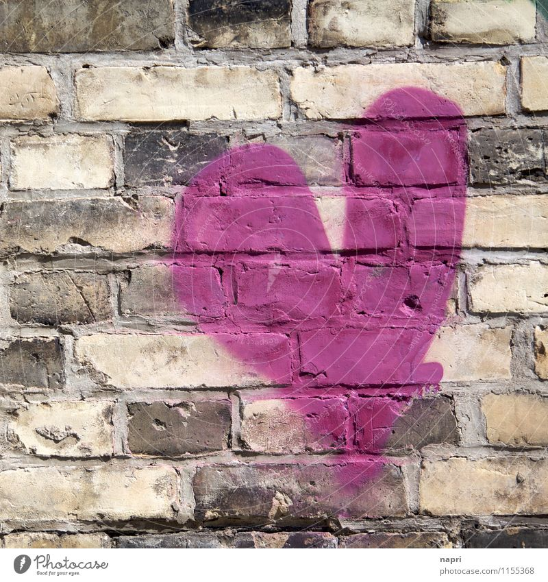 brave / wall language II Street art Wall (barrier) Wall (building) Brick Sign Graffiti Heart Positive Pink Sympathy Love Infatuation Loyalty Romance Communicate