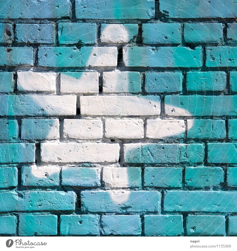 reach out to / Wall language I Street art Wall (barrier) Wall (building) Sign Graffiti Star (Symbol) Happy Communicate Dream Town Desire Turquoise Blue Brick