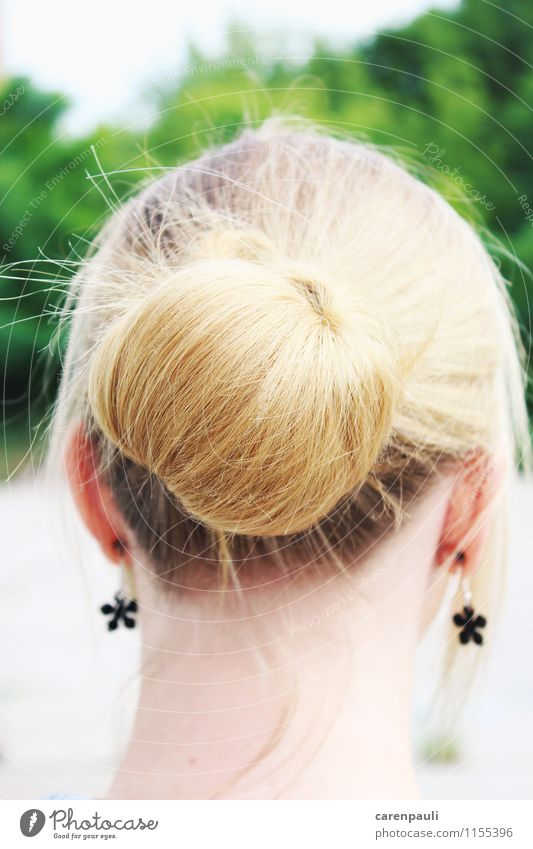 bun Style Feminine Young woman Youth (Young adults) Hair and hairstyles 1 Human being 18 - 30 years Adults Beautiful weather Earring Blonde Braids Glittering