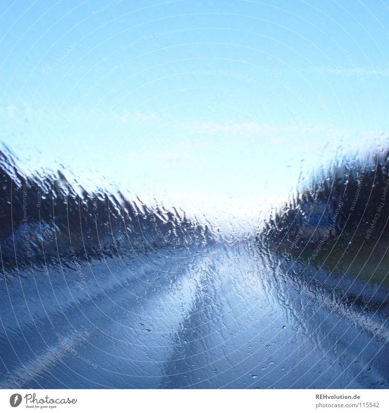Water Sky Sun Blue Street Car Rain Glass Weather Drops of water Wet Perspective Driving Tracks Highway Traffic infrastructure