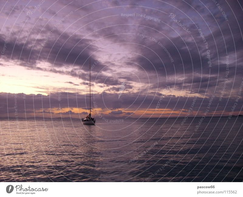 Lonely sailboat Watercraft Thailand Loneliness Sailing Ocean Threat Sunset Adventure Asia Sky Freedom