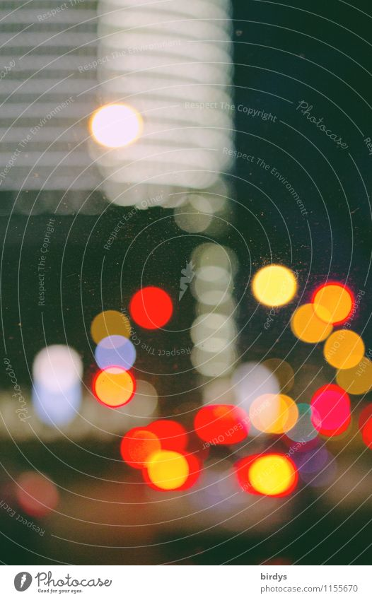 City Lighting City life Illuminate Car Transport High-rise Esthetic Surrealism Traffic light Road traffic
