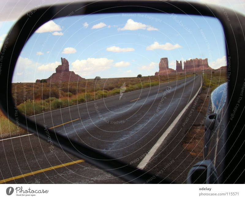 Sky Car Sand Rock Earth USA Desert Highway Arizona Utah Rear view mirror Monument Valley