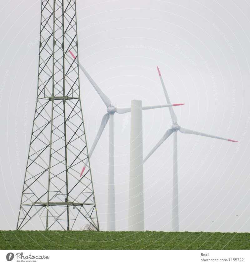 Green White Landscape Meadow Energy industry Field Modern Wind Electricity Future Tower Change Construction site New Wind energy plant Steel