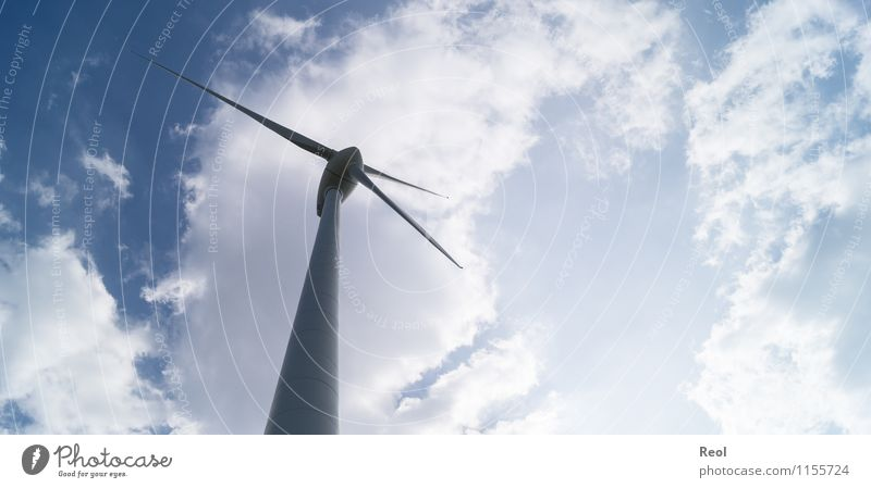 windmill Technology Advancement Future Energy industry Renewable energy Wind energy plant Sky Clouds Beautiful weather Blue White Energy technology Electricity