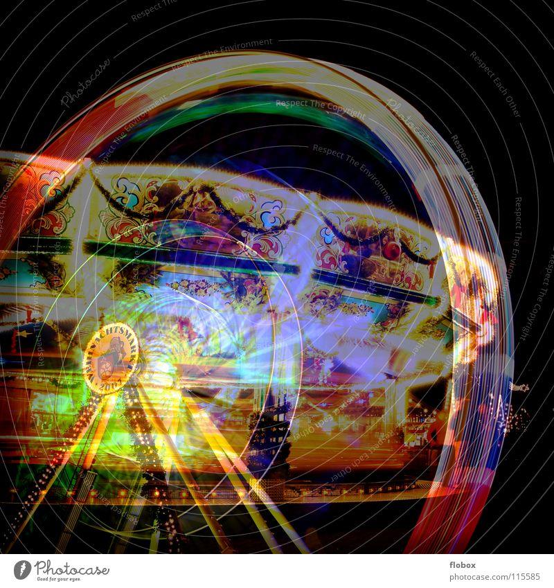 Lomo Cross Fake Ferris wheel Carousel Lomography Analog Kitsch Double exposure Gaudy Multicoloured Fraud Rotate Night Fairs & Carnivals Attraction Landmark