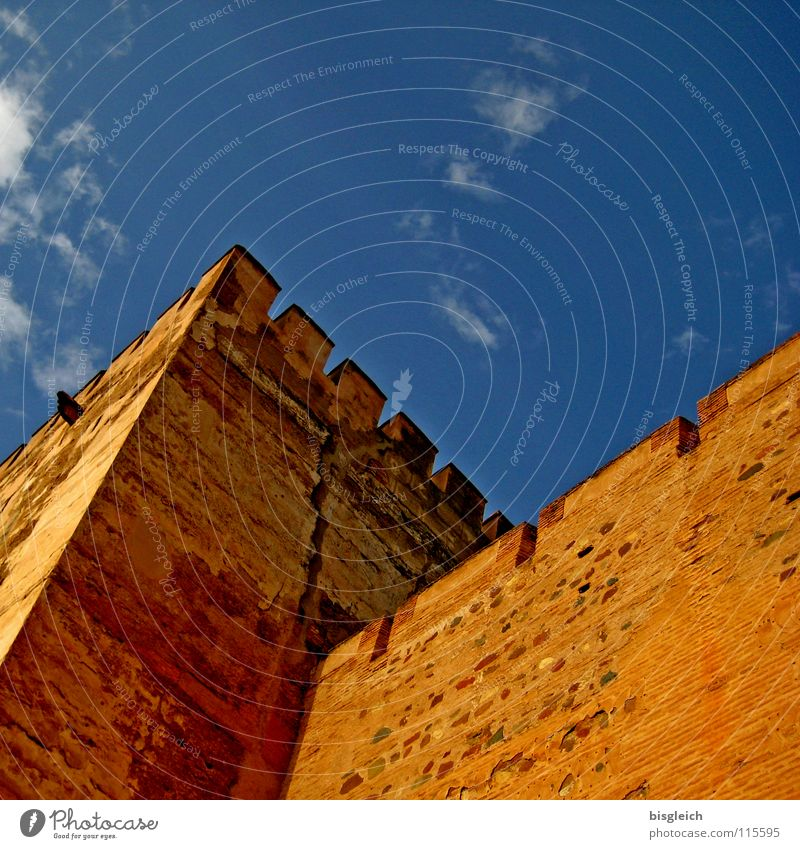 Alhambra Towers, Granada (Spain) Colour photo Exterior shot Deserted Copy Space top Worm's-eye view Sky Europe Ruin Landmark Monument Historic Blue Brown