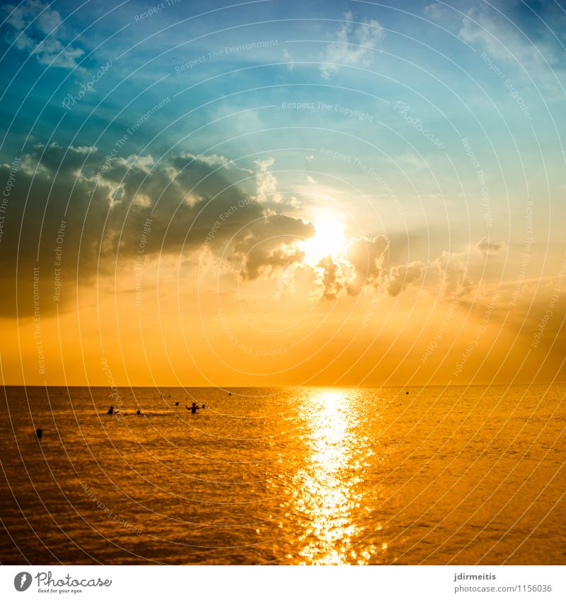Evening at the sea Vacation & Travel Tourism Far-off places Freedom Summer Summer vacation Sun Beach Ocean Waves Environment Nature Landscape Water Sky Clouds