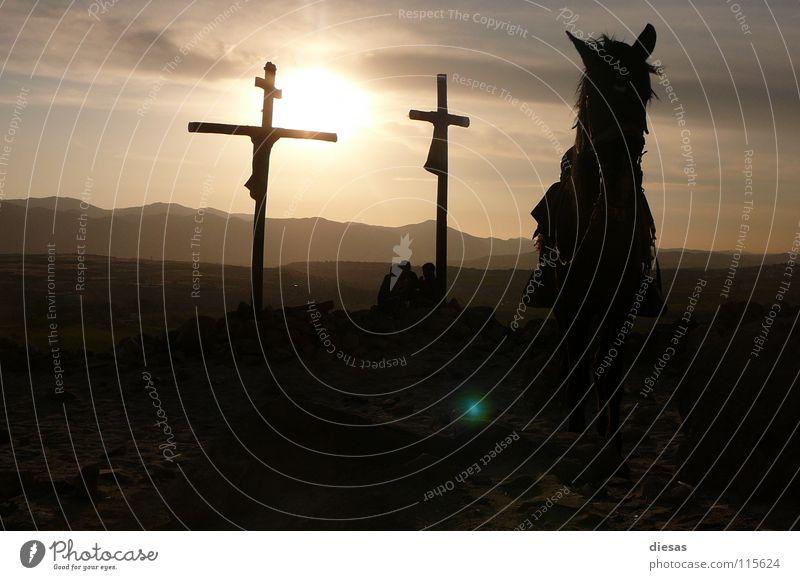 Wild West Amen Horse Sunset Calm Religion and faith South America Back Landscape Peace