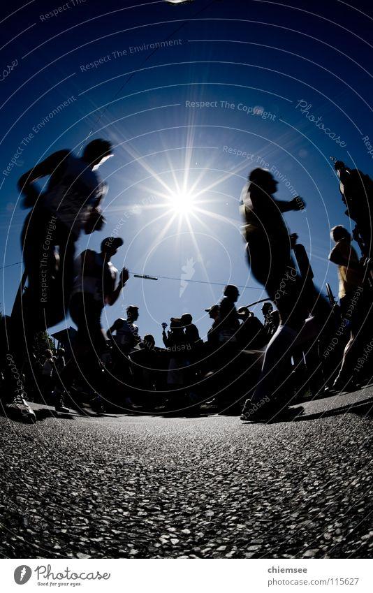 running Jogging Marathon Fisheye Silhouette Back-light Sports Playing Walking