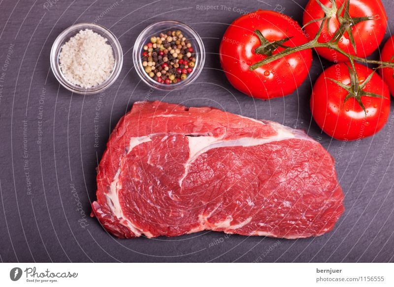 Food photograph Fresh Herbs and spices Vegetable Delicious Good Organic produce Meat Fat Tomato Pepper Salt Raw Steak Preparation