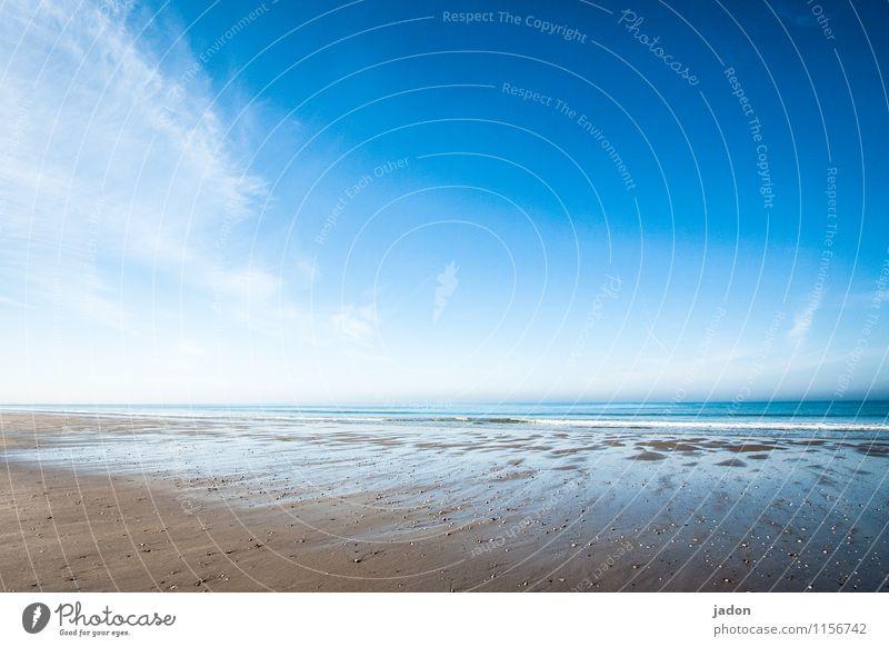 quiet as the sea. Tourism Trip Beach Ocean Waves Environment Nature Landscape Elements Sky Clouds Horizon Spring Beautiful weather Coast Atlantic Ocean